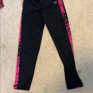 girls AéRopostale black workout legging pink strip